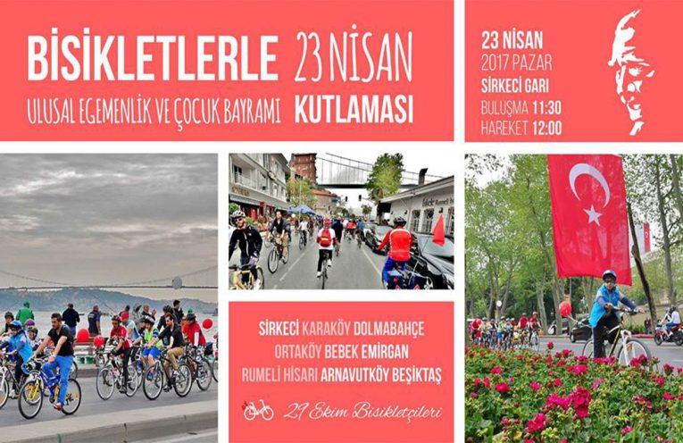 Bisikletlerle 23 Nisan Kutlaması