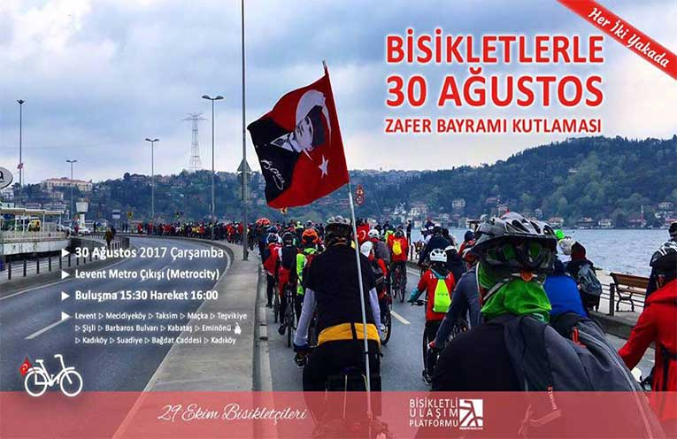 Her İki Yakada Bisikletlerle 30 Ağustos Zafer Bayramı Kutlaması