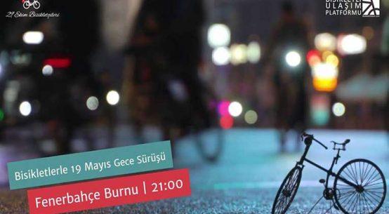 Bisikletlerle 19 Mayıs Gece Sürüşü Fener Alayı