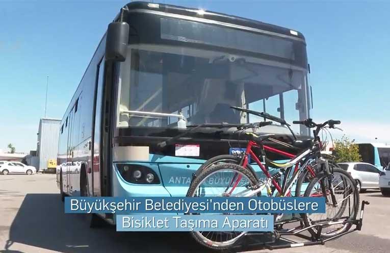 Antalya Büyükşehir Belediyesi'nden Otobüslere Bisiklet Taşıma Aparatı